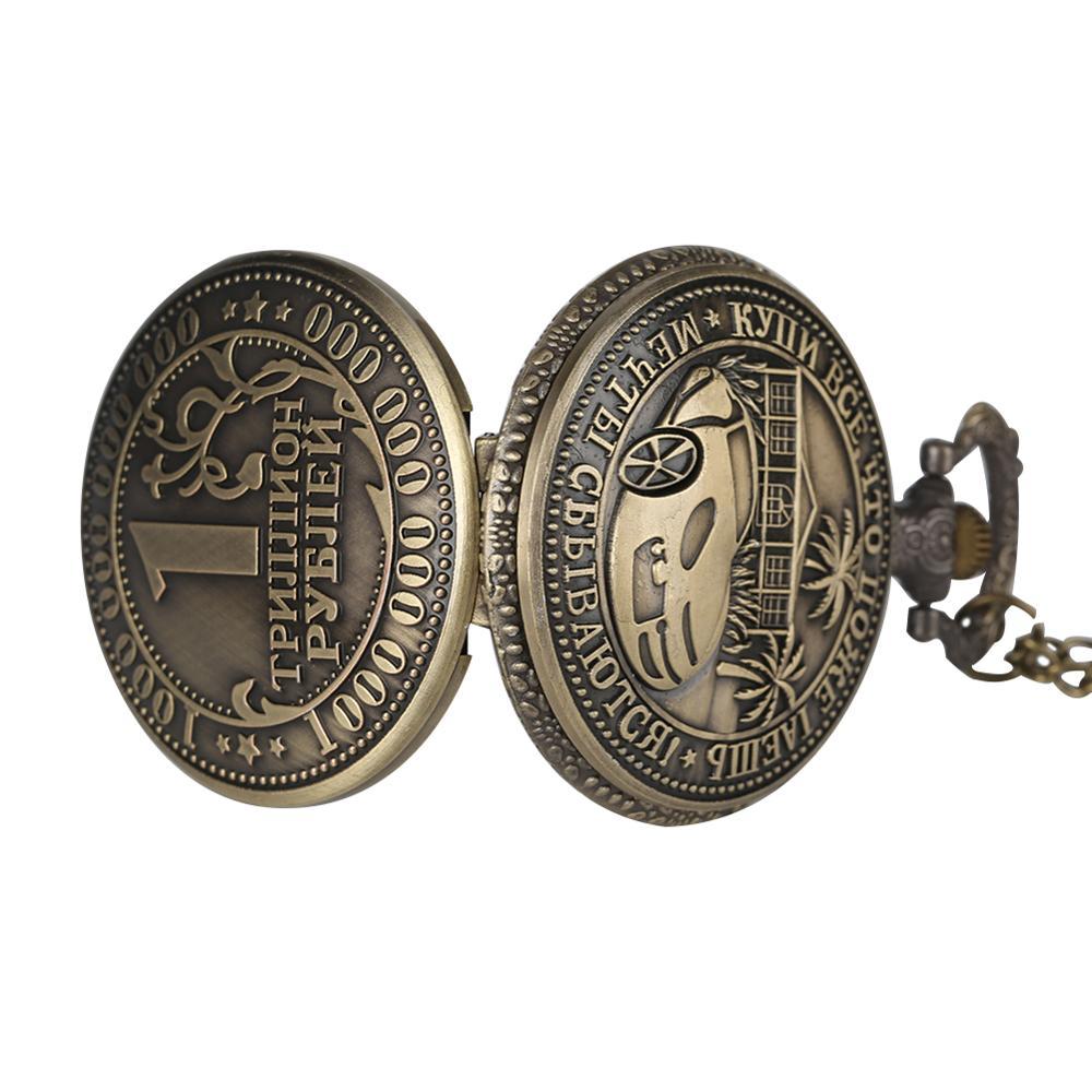 Купить с кэшбэком YISUYA Metal 1 Trillion Rouble Quartz Pocket Watch Russian Ruble Copy Coin Pendant Watches gift collection reoj enfermera