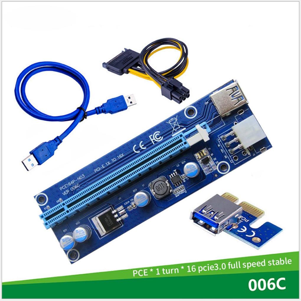 Quente 006c pcie 1x para 16x express riser cartão gráfico pci-e riser extensor 60cm usb 3.0 cabo sata para 6pin power para mineração btc