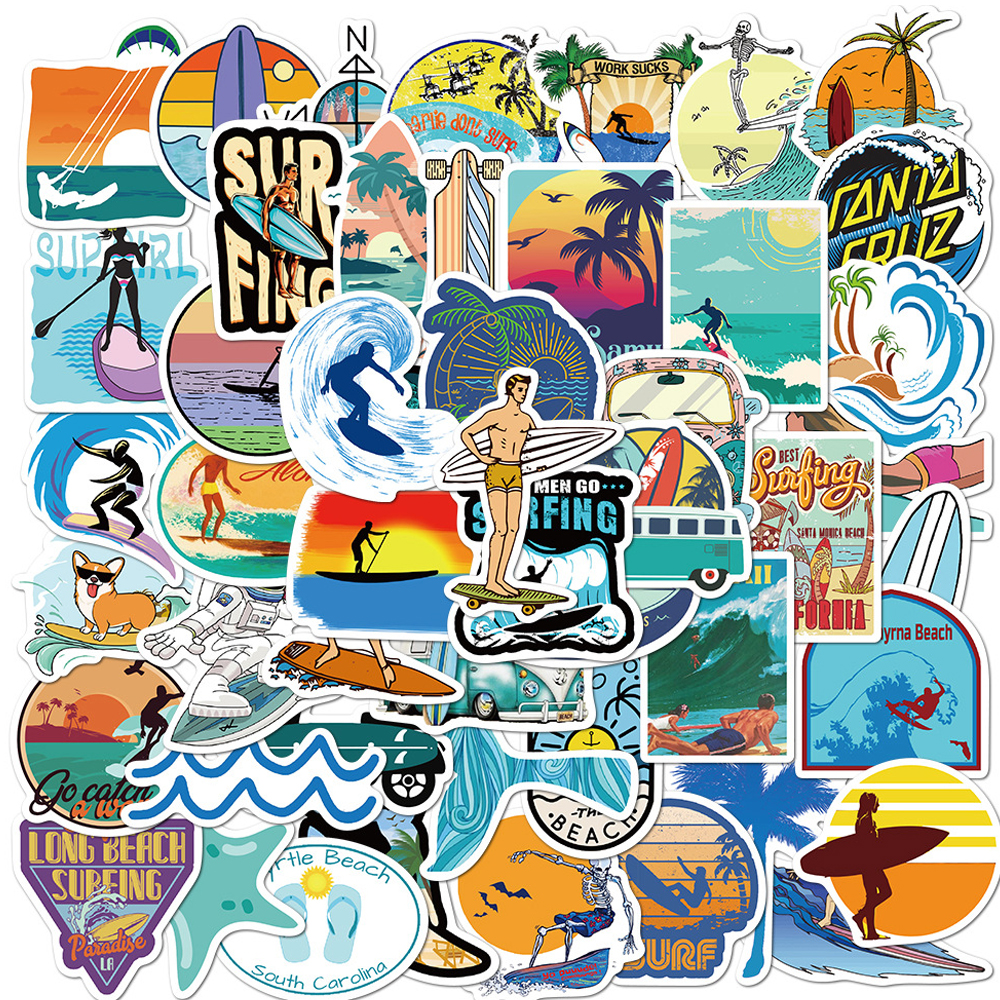 10/30/50PCS Outdoor Surf stickers Sports Tropical Beach Surfing Waterproof Stickers To Surfboard Car Skateboard Sticker Kid Toys