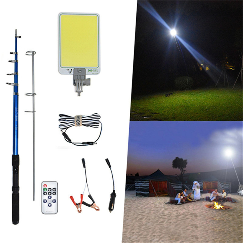Camp Removable Emergency Lighting IP65 47W 12V LED Floodlights Camping BBQ Spotlight Rechargeable 4.5m Telescopic Post Work Lamp
