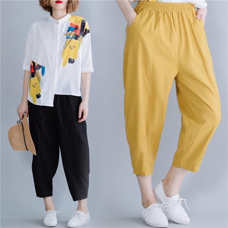 Summer Wear Literature And Art Large Size Fashion Loose Fat Mm Elastic Waist WOMEN'S Dress Loose Pants