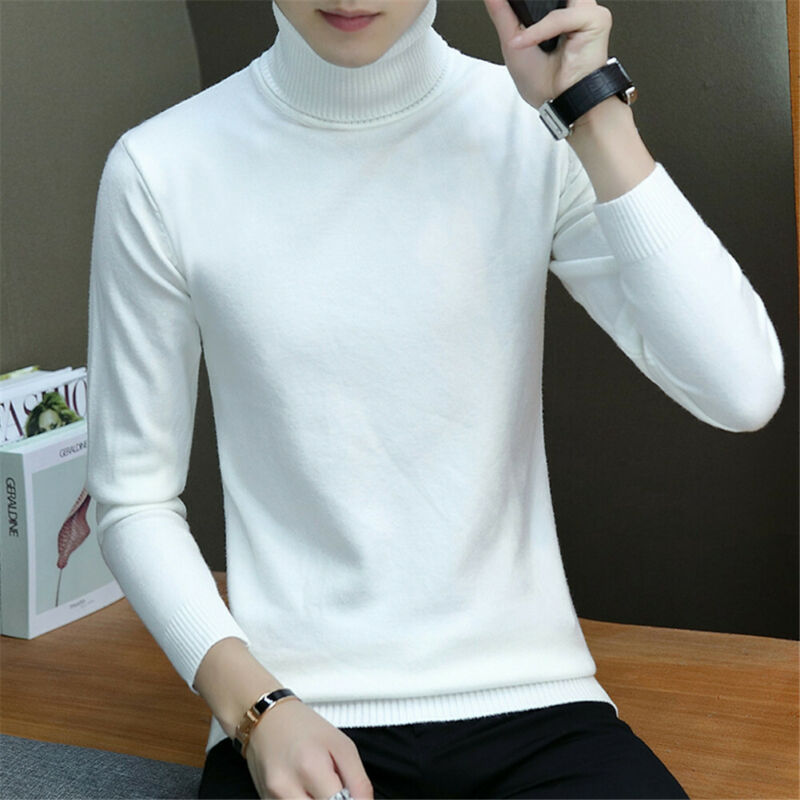 Men Casual Style Sweaters Full Sleeve Length Pullovers Item Type Turtleneck Collar Solid Pattern Type Thickness