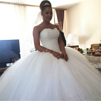 Rystal Beaded Wedding Dresses New Luxury Designer Sweetheart Tulle Puffy Ball Gown Lace Up Bridal Gowns 2020 Wedding Gowns
