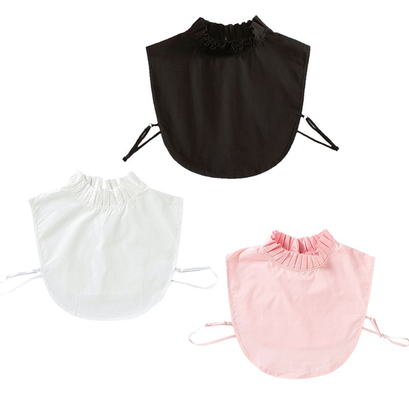 Women Pleated Ruffles Stand Fake Collar Sweater Pullover Cotton Half-Shirt Tops
