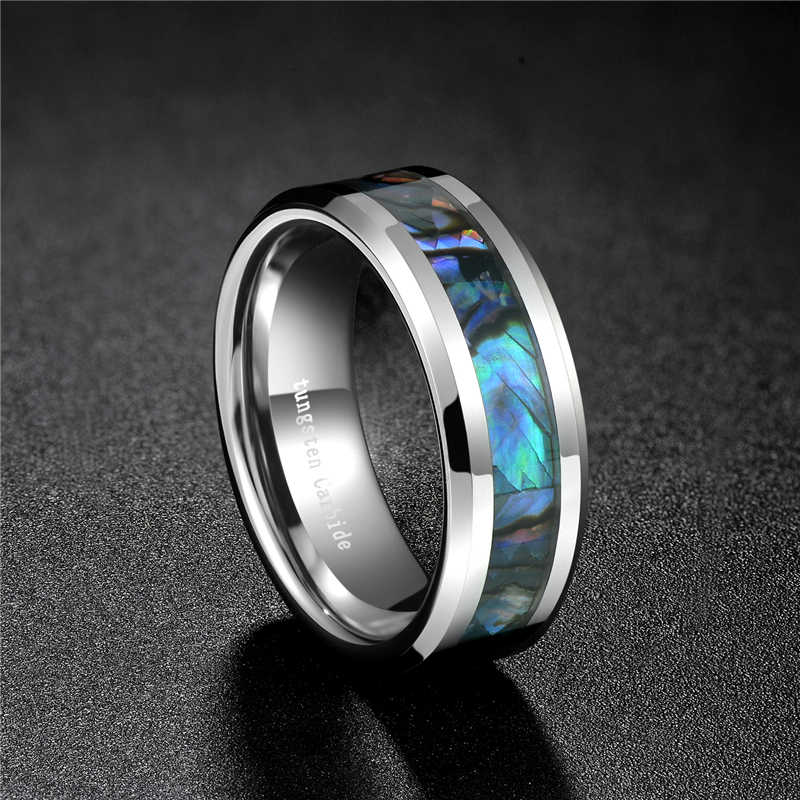 Somen męska 8mm Abalone Shell pierścień obrączka prezent dla chłopaka rozmiar 6-12 fazowane obrączki wolframu Comfort Fit rozmiar 7 do 12