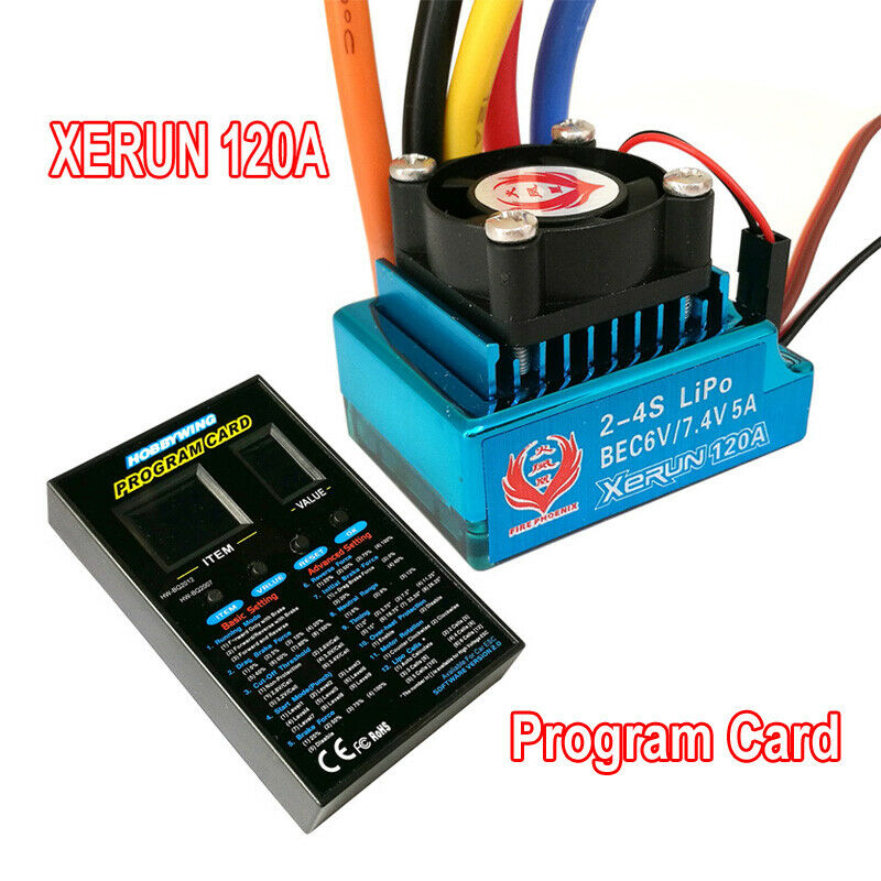 Fire Phenix  XERUN 120A Brushless Sensored ESC & Program Card Combo  For 1/10 1/12 Buggy Touring Car