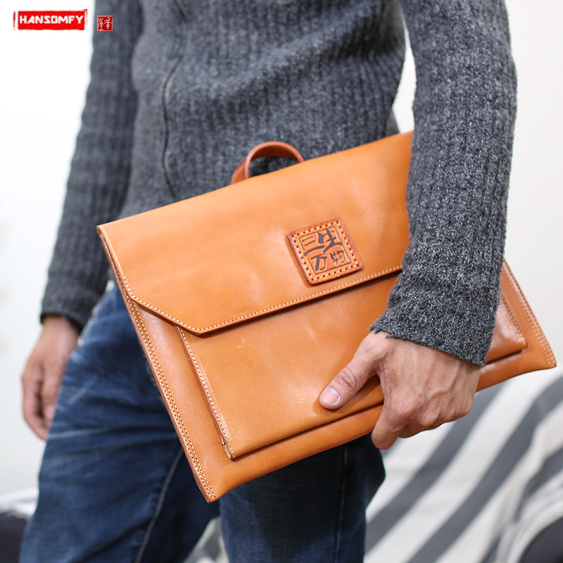 Retro Vegetable Tanned Leather Men Handbags For Macbook Apple 13.3-inch Laptop Bag Sleeve Case Genuine Leather Notebook Bags