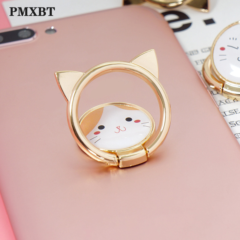 Finger Ring Holder 360 Degree Rotation Metal Ring Bracket For Iphone Huawei Xiaomi All Mobile Smart Phone Stand Cute Cat Support