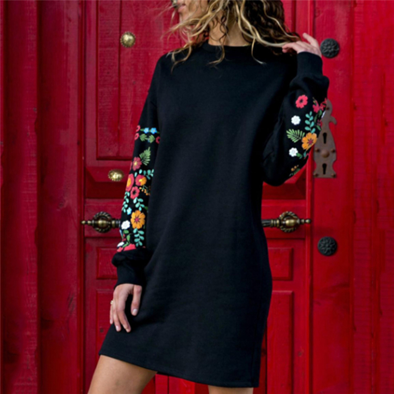 Womail Autumn 2020 Winter Dresses Women Casual Long Sleeve Floral Embroidery Sweatshirt Dress Party Wear Short Dresses