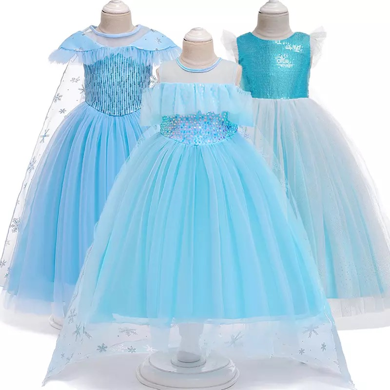 frozen22 elsaand anna dress girl dress princess dress Christmas birthday halloween party dress girl costume summer dress title=