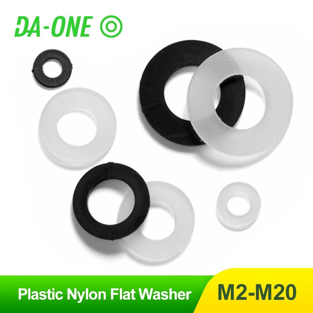 M2 M2.5 M3 M4 M5 M6 M8 M10 M12 M14 M16 M18 M20 White Black Nylon Plastic Flat Washer Plane Spacer Insulation Seals Gasket Ring