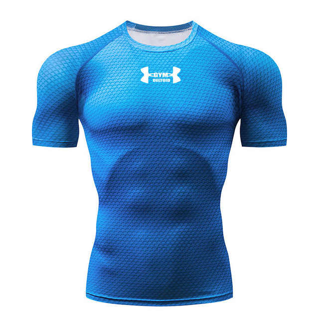 2019 Baru Kompresi Kemeja Lengan Pendek T Shirt Pria Cepat Kering Fit Berjalan T-shirt Pria Gym Ketat T Shirt Sport merek Pakaian
