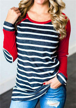 Camiseta de retazos de manga larga cuello redondo de algodón de poliéster estilo Simple mujeres Top primavera otoño
