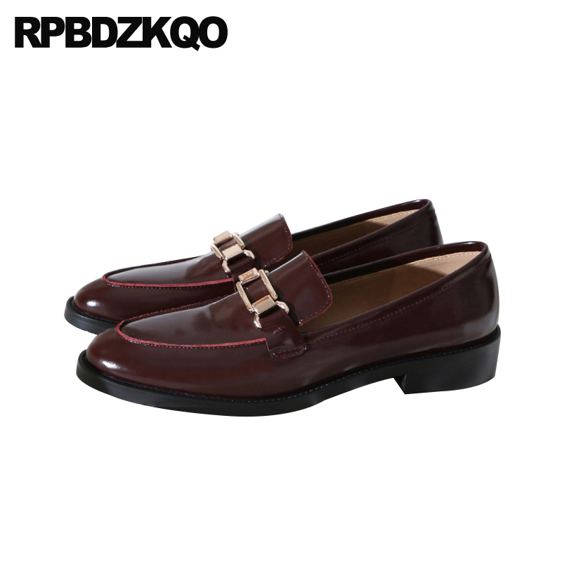 fashion designer shoes women luxury 2019 metal black round toe red wine loafers china low heel patent leather ladies genuine