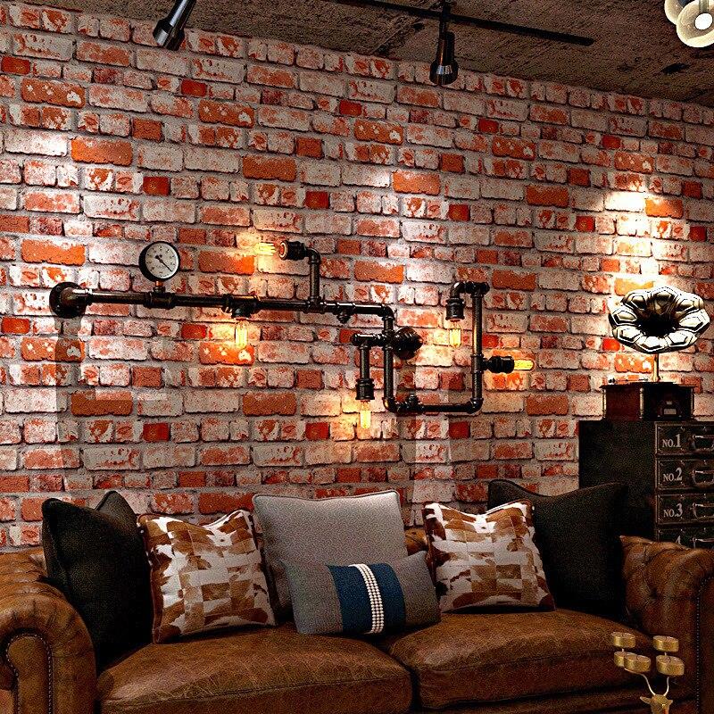 Retro Nostalgic Faux Brick Pattern Bricks Brick Wallpaper Cement Loft Graffiti Industrial Wind Cafes American-Style Red Brick Wa