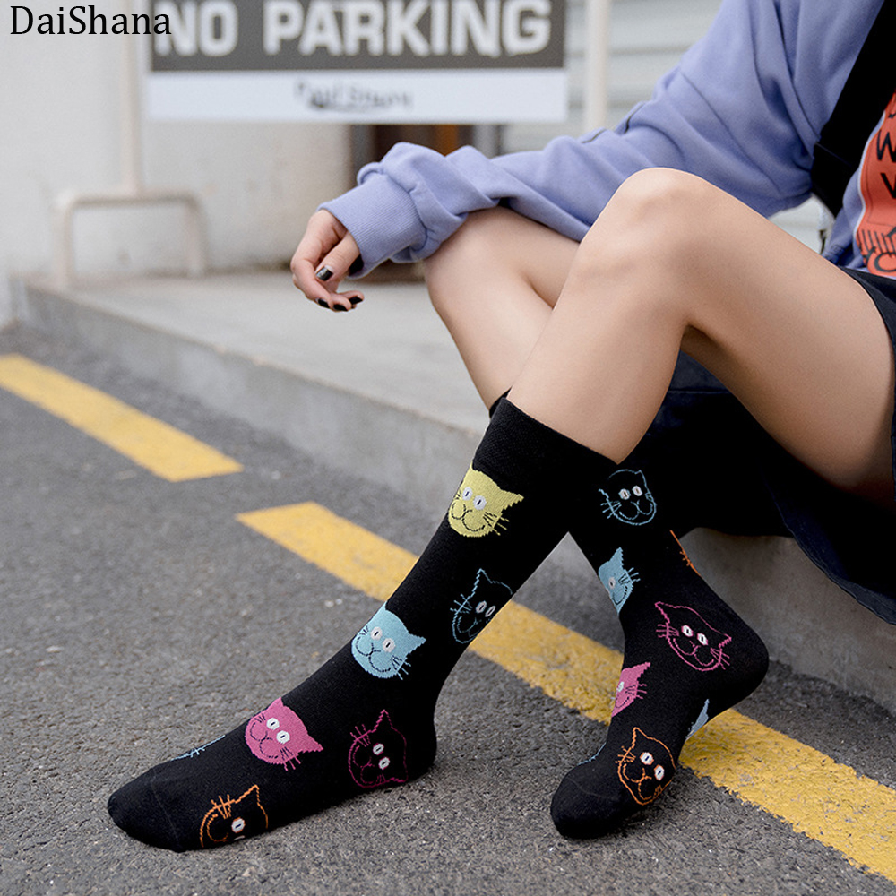 DaiShana New Arrival Harajuku Women Socks Combed Cotton Cat Dog Pattern Happy Socks Unisex Fashion Casual Ankle Girl Socks Meias