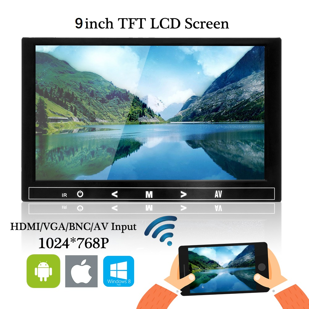 Car Monitor 9 inch TFT LCD monitor For Rear View Reverse Camera Mini TV Computer Display Mirror Link For Android Iphone