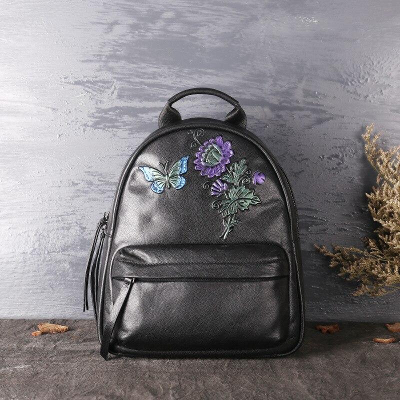 ดอกไม้ผู้หญิงกระเป๋าเป้สะพายหลังหนังแท้กระเป๋าเป้สะพายหลัง cow หนังสุภาพสตรีกระเป๋า 2019 ใหม่หนังแท้กระเป๋าสะพายคู่-ใน กระเป๋าเป้ จาก สัมภาระและกระเป๋า บน   3