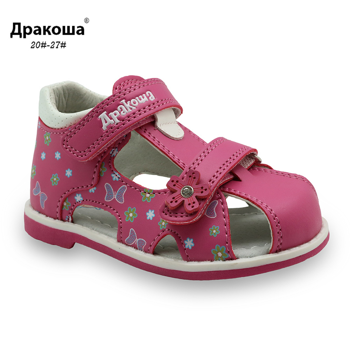 Apakowa Kids Sandals PU Double Hook&Loop Summer Sandals Cute Flower Print Arch Support Girls Toddler Sandals Children's Shoes