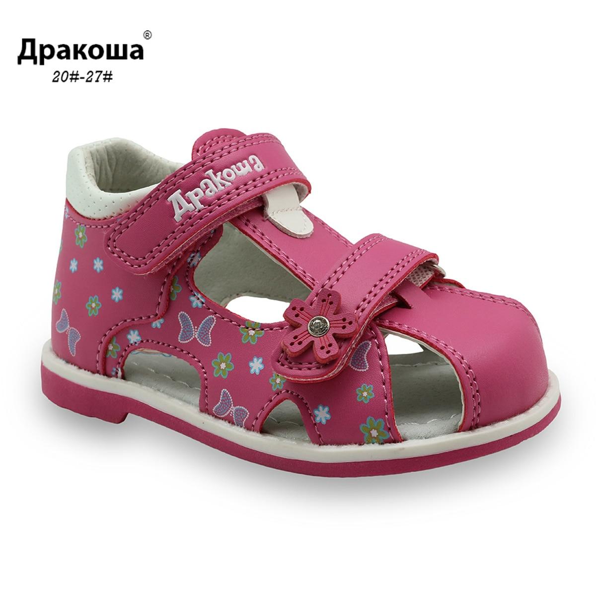 Apakowa Kids Sandals PU Double Hook&Loop Summer Sandals Cute Flower Print Arch Support Girls Toddler Sandals Children's Shoes