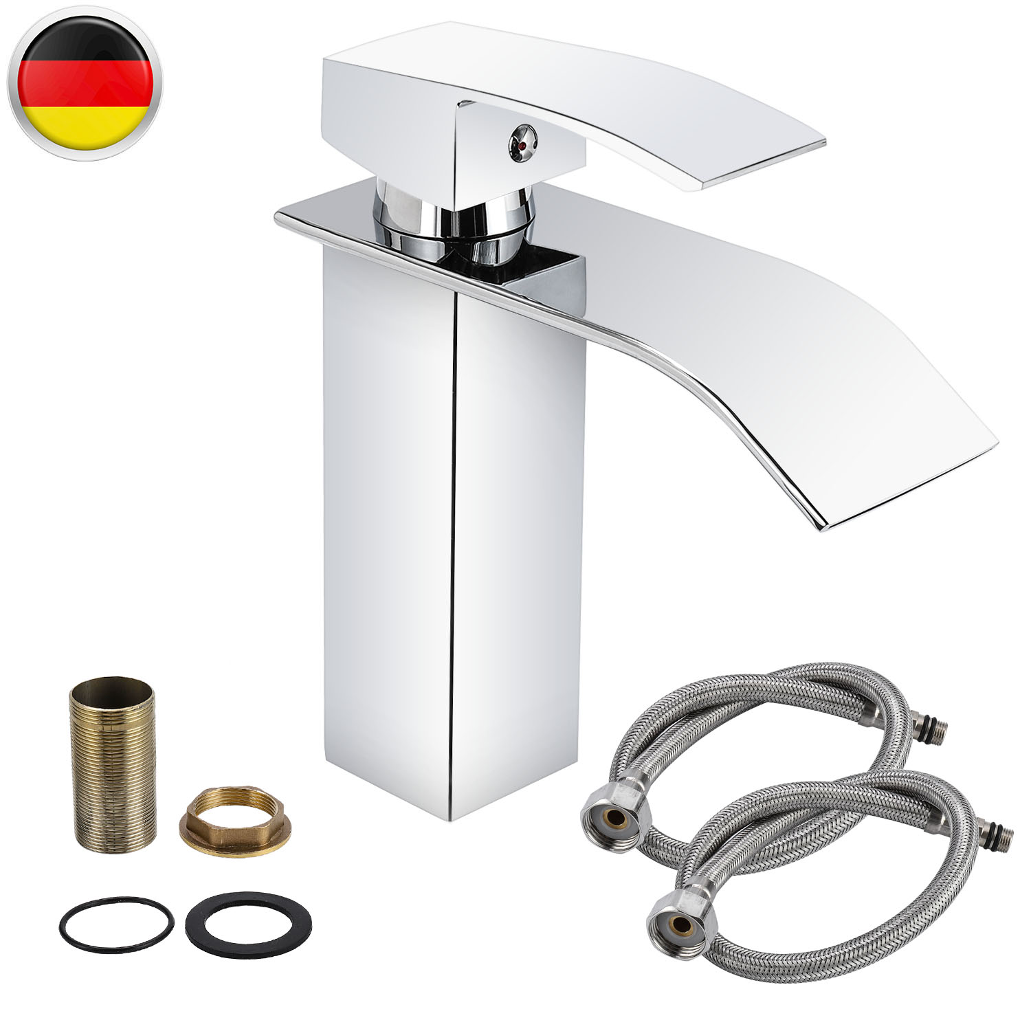 Hot And Cold Water Hoses Mixer Tap Bathroom Wash Basin Sink Tap Waterfall Brass Faucet For Any Contemporary Designed Bathroom