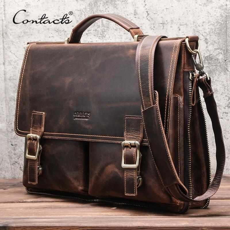 Briefcase-Bag Office-Handbag CONTACT'S Laptop Shoulder Business Crazy-Horse-Leather Famous-Brand