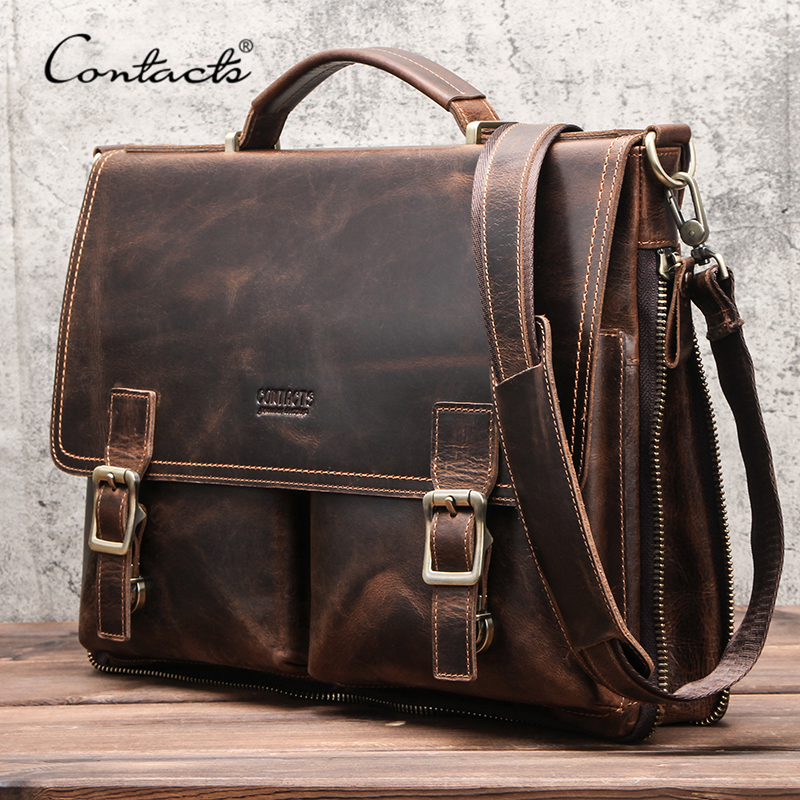 CONTACT'S Men Briefcase Bag Crazy Horse Leather Shoulder Messenger Bags Famous Brand Business Office Handbag For 14 Inch Laptop