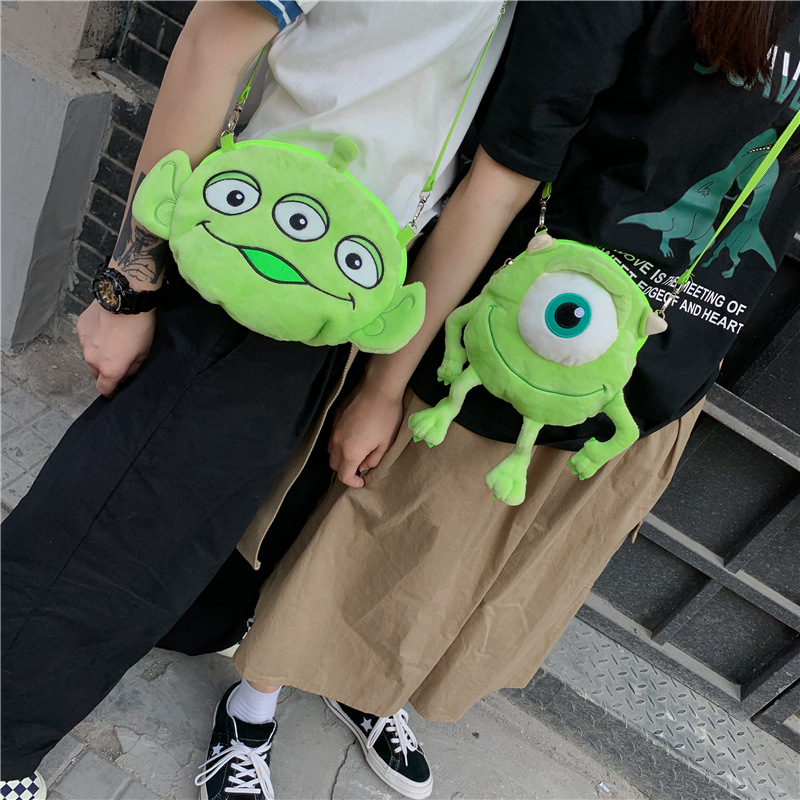 Cartoon Monocular Blame San Yan Guai Plush Bag Cute Soft Girl Mobile Phone Makeup Shoulder Bag Children Shoulder Purse