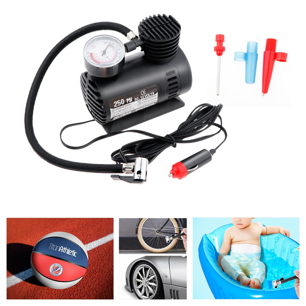 250 PSI 12V Car Pump Tire Inflator Mini Air Compressor With Gauge Kompresor For Bicycle, Car,motorcycle Inflatable Boat,balloon