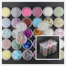 34 Colors Resin Pigment Mica Powder Glitters Sequains Nail Art Jewelry Making