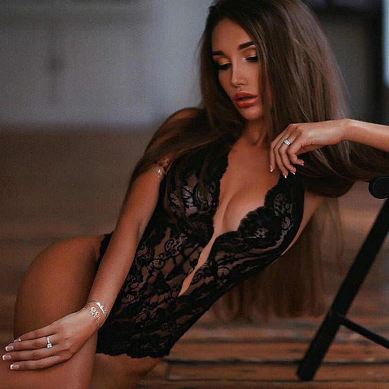 섹시 할로우 란제리 세트 플러스 사이즈 여성 레이스 딥 v 에로 섹시한 브래지어 세트 원피스 란제리 홀터 오픈 브라 바디 수트