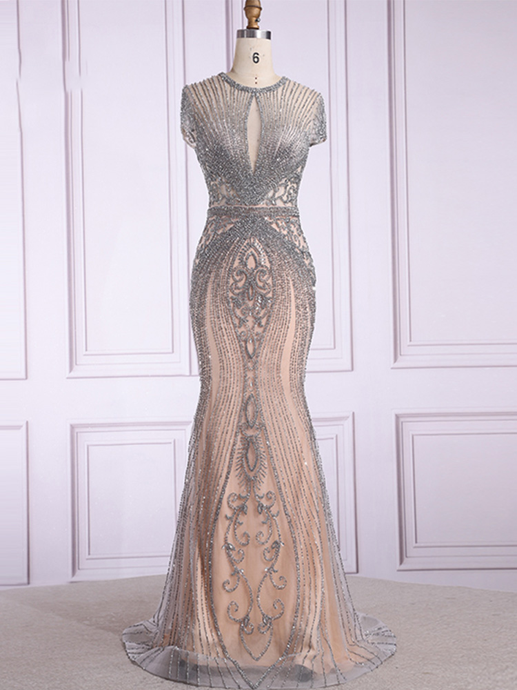 Oucui Prom-Dress Formal-Gown Robe-De-Soiree Diamond Mermaid Nude Sleeveless Luxury Beaded
