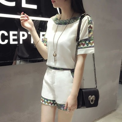 2017 New Style WOMEN'S Dress Korean-style Fashion Printed Chiffon Blouse Short-sleeved Top Shorts Casual Two-Piece Set