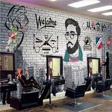 Papel de pared decorativo Industrial para peluquería, peluquería personalizada, 3D, corte de pelo Retro, tienda, Mural, papel tapiz, 3D