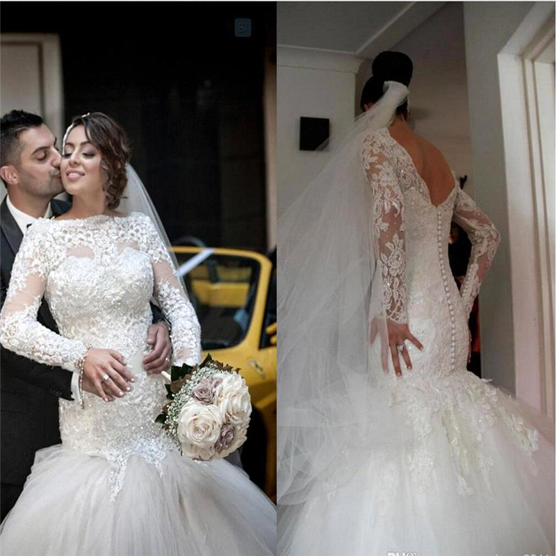 2015 Vestidos De Novia Romantic Long Sleeves Mermaid Wedding Dresses Backless Tulle Lace Wedding Gowns Robe De Mariage Brides