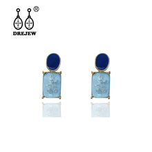 DREJEW Blue Pink Square Round Alloy Statement Earrings Summer 925 Crystal Drop Sets for Women Wedding Jewelry HE2021