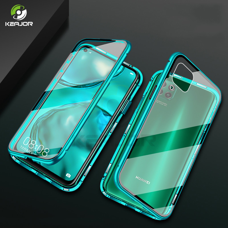 Magnetic Case For Huawei P40 Lite Case 360 Full Protective Bumper Double Side Glass Back Cover For Huawei P 40 Lite Case Funda