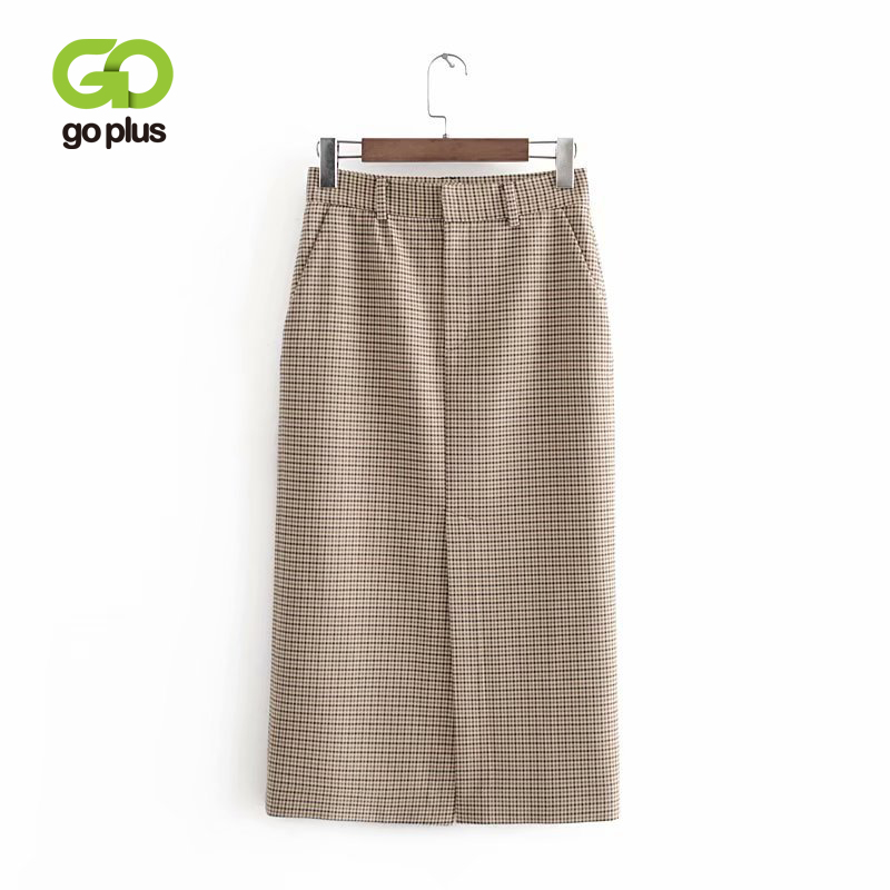 GOPLUS Empire Skirt Long Plaid Skirts Knee-length Skirt Jupe Crayon Femme Womens Jupe Femme Ropa Mujer Falda Larga Elegante