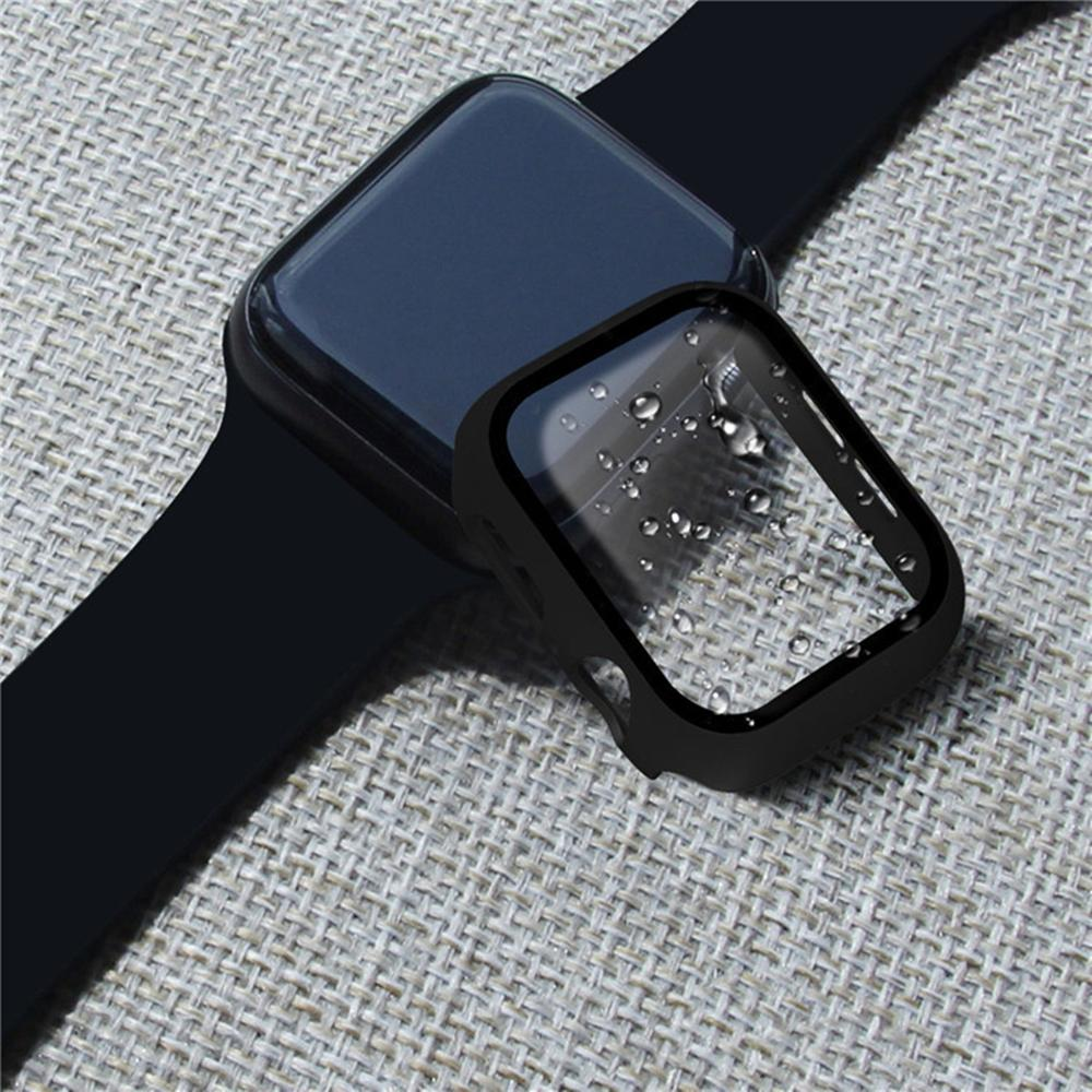 Glass+case For Apple Watch series 5 4 3 2 44mm 40mm 42mm 38mm Tempered bumper Screen Protector+cover for iWatch case Accessories 6