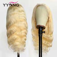 Yyong, 613, pelucas con encaje completo Rubio, pelucas de cabello humano Natural con onda completa de cuerpo brasileño con cabello de bebé, 120%