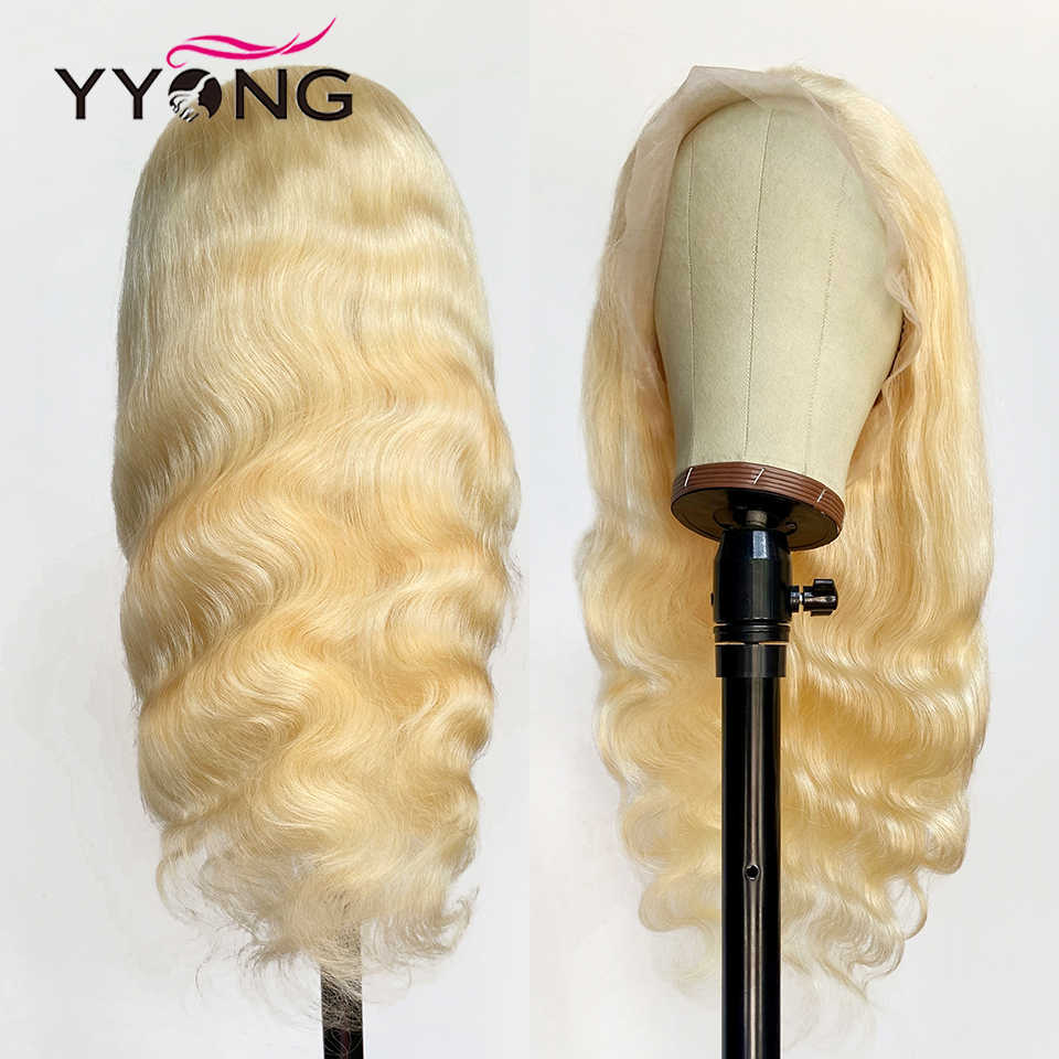 Yyong 613 blonde pleine dentelle perruques Remy Blond brésilien vague de corps pleine dentelle perruques de cheveux humains délié naturel avec des cheveux de bébé 120%