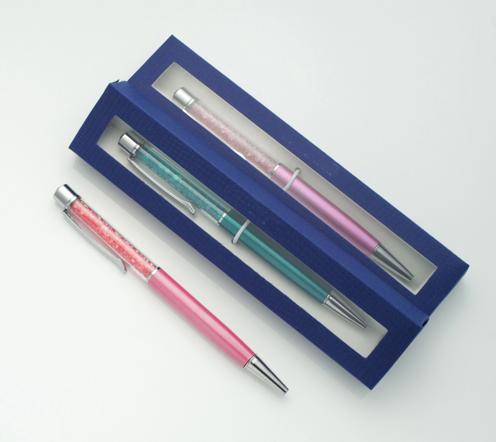 Creative Diamond on top Swarovsky Crystal ballpoint pen with gift box case promotional items gift pen