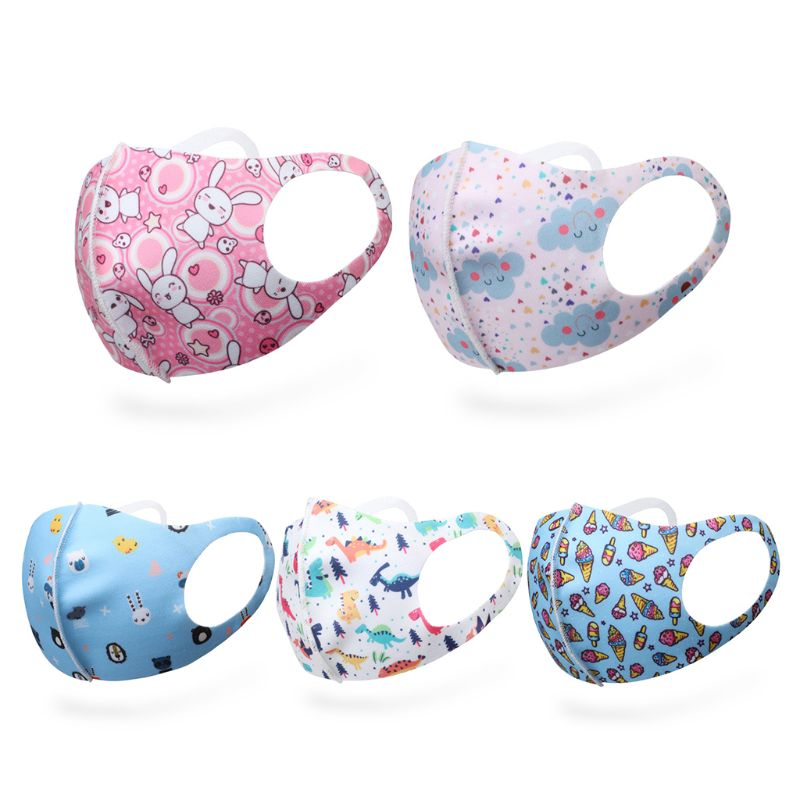 Kids Reusable Cartoon Printing Mouth Mask Breathable Anti-pollution Anti-smog Dustproof Face Protective Cover Cycling Respirator