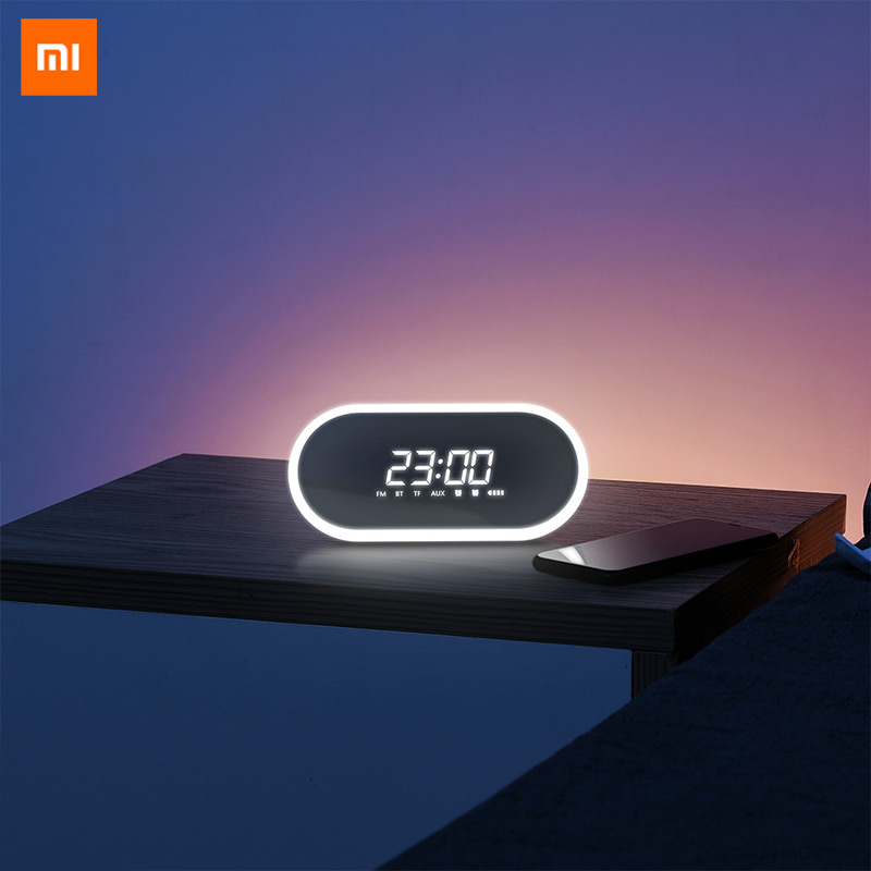 Original Xiaomi Youpin Mijia BASEUS Mini Alarm Clock Wireless Bluetooth speaker household subwoofer mirror radio 3D surround image