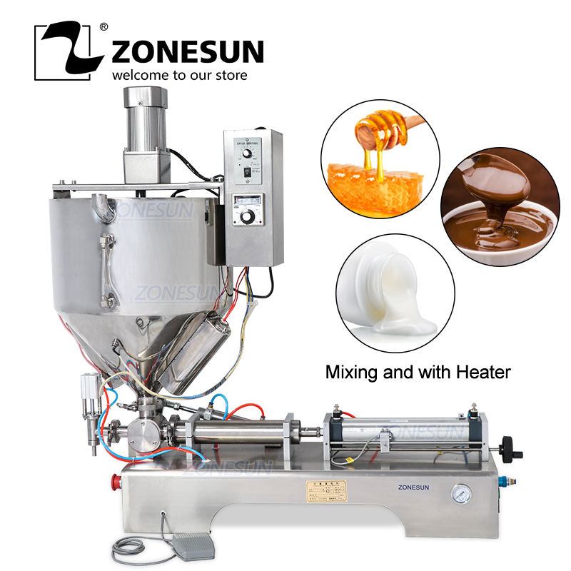 ZONESUN Single Nozzle Cream Honey Chocolate Alcohol Gel Sauce Water Bottle Packaging Filling Machine With Heater Filler