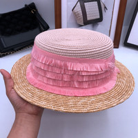Summer new seaside holiday beach hat straw hat color matching fashion straw sweet pink fringed M sun hat