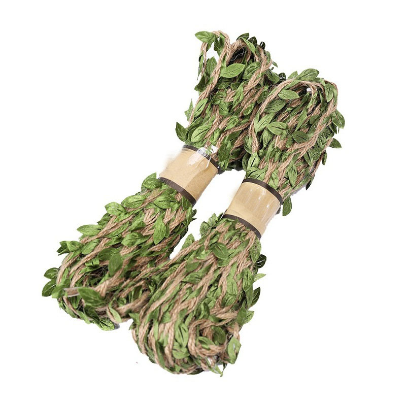 5M Leaf Shaped Hemp Rope Simulation Green Leaves Weaving Jute Rope DIY Wedding Birthday Party Decoration Gift Packaging Supplies