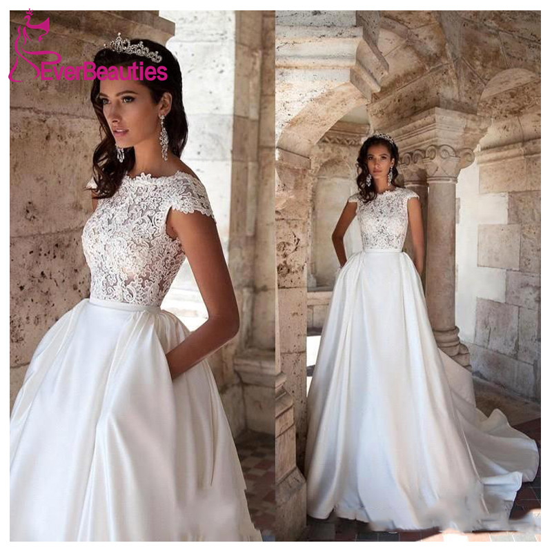 Robe De Mariee Princess Wedding Dress Short Sleeves Elegant Satin Appliques A-Line Bride Dresses With Pockets 2020