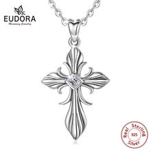 EUDORA Cross Pendant 925 Sterling silver AAA cubic zircon Luxurious necklace for Women Men Wedding Engagement  fine Jewelry D467