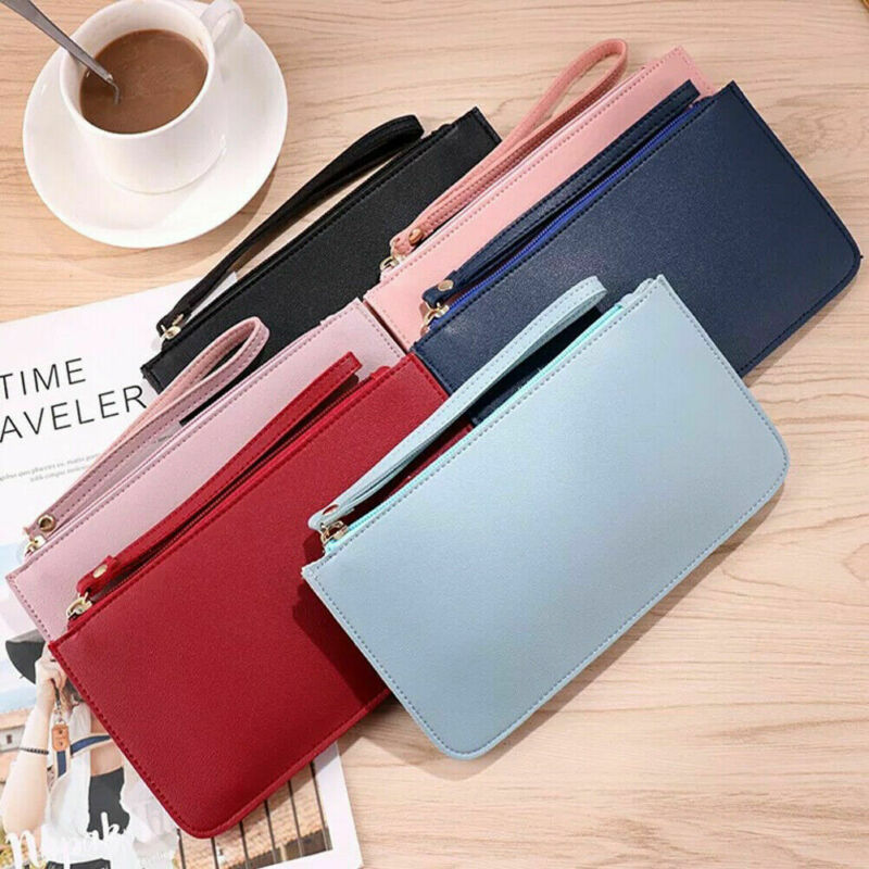 Women Ladies Leather Wallet Zipper Long Length Purse Solid Thin Clutch Vintage Simple Fashion New